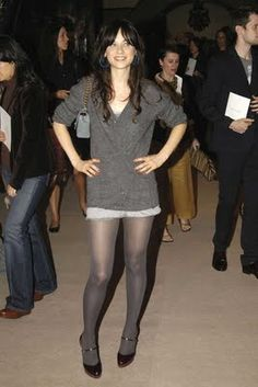 Black Floral Tights for Everyone : Zooey Deschanel Black Floral Tights. Pantyhose Outfits, Tights Outfit, In Pantyhose, Nylons, Floral Tights, Grey Tights, Pantyhosed Legs, Sexy Legs And Heels, Sexy Stockings