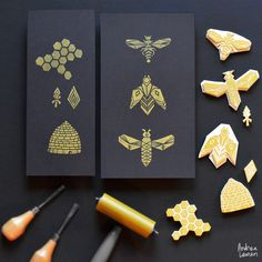Block Print Bees by Andrea Lauren Instagram