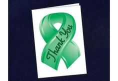 Small Green Ribbon Thank You Card - (STY-13)