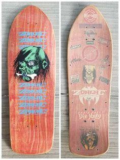 NOS Zorlac Double Cut/Shrunken Head. This is a CA era deck; hence the streamlined shape, vertical Zorlac logo and the shrunken head's white eyes. Real Skateboards, Vintage Skateboards, Skate Extreme, Seek And Destroy, Shrunken Head, Airwalk, Skate Surf, Skateboard Decks, Crystal Skull