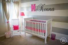 Nursery - love the grey stripes with a pop of hot pink!