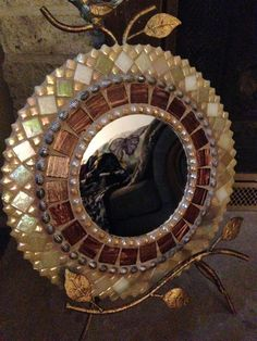 Mosaic mirror handcrafted with by RadiantMosaicByNancy on Etsy