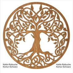 Baum des Lebens aus Holz Lebensbaum Keltik-Rotbuche mit schwarze Kontur Wand Deko Wohnzimmer Deko   Geschenkidee