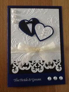 A wedding card which can be used for many colour schemes, this bride had navy blue bridesmaids. A wedding card which can be used for many colour schemes, this bride had navy blue bridesmaids. Wedding Cards Handmade, Greeting Cards Handmade, Wedding Scrapbook, Scrapbook Cards, Cricut Wedding, Cricut Cards, Stampin Up Cards, Wedding Shower Cards, Card Wedding