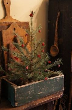 Prim Christmas...tree in an old blue box. Picture Trail Gallery.