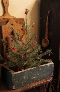 old boxes, prim christmas, primitive christmas, christma tree, cottage christmas, country christmas, wooden boxes, primit christma, christmas trees