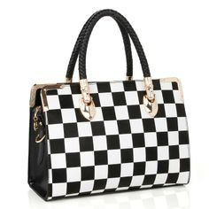 2013 black-and-white checkerboard palid women's vintage handbag fashion elegant fashion zipper ol shoulder bag handbag $58.66