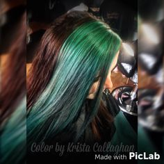 Teal fashion hair color, foiled hair, bright hair, long hair #sugarnspicesalon #hair