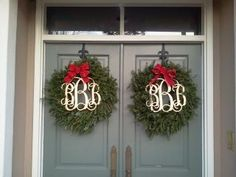 Monogram Christmas Wreath by TheShoppesOnMain on Etsy Christmas Door, Merry Little Christmas, Winter Christmas, All Things Christmas, Christmas Holidays, Christmas Wreaths, Christmas Decorations, Xmas, Holiday Decorating
