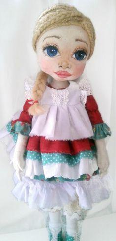 Unique art cloth dolls, handmade fabric dolls by KamomillaDesign Fabric Dolls, Unique Art, Doll Clothes, Harajuku, Etsy Seller, Textiles, Hand Painted, Creative, Face