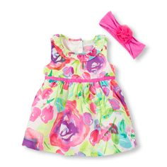 Image for Baby Girls Sleeveless Big Floral Flare Dress, Headwrap And Diaper Cover Set from The Children's Place