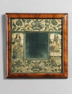 w - A CHARLES II EMBROIDERED AND STUMPWORK MIRROR FRAME, LATE 17TH CENTURY