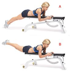 Lie facedown over a bench or padded stool with legs hanging off the edge (a). Engage your abs and lift both legs until your body forms a straight line. (b) Hold for 5 seconds then lower slowly. That's 1 rep.  Do 10 to 15.