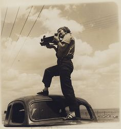 Dorothea Lange with some unidentified unwieldy plate camera