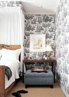 Black and White Toile de Jouy makes a statement in this Bedroom.  See more at http://decoratingfiles.com/2012/07/toile-de-jouy/