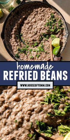 Carnitas, Barbacoa, Mexican Food Recipes, New Recipes, Side Dish Recipes, Side Dishes, Homemade Refried Beans, Flautas, Carne Asada