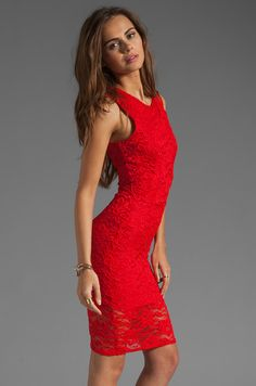 Donna Mizani Passion Lace Dress in Red
