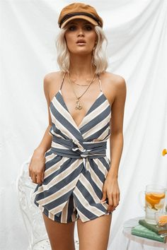 Mireya Stripe Playsuit - Playsuits by Sabo Skirt | SABO SKIRT Poor Little Rich Girl, Striped Playsuit, Baker Boy, Sabo Skirt, Playsuits, Wrap Dress, Cotton Fabric, Stripes, Rompers