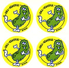 Scratch and Sniff pickle stickers... had these too.