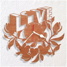Wooden wall clock LOVE. Great gift for someone you love. The size of the clock is 12 (30cm). It has a strong hanger on the back of clock. I use in all my clocks high quality movement mechanism that operates very silent. Battery AA included. In case your item arrives damaged I will replace your clock with the new one or I will offer a full refund (please provide photos of the damages). If you have any questions please contact me.