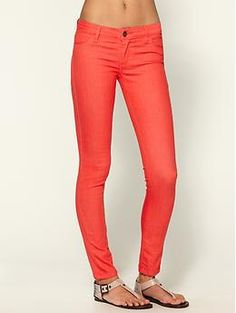 tangerine colored skinny jeans!   oh you know it! These would look awesome with leopard print sandals