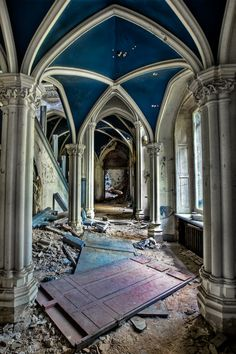 Abandoned Chatea De Noisy/ Castle Miranda. This is the Entrance Hall and Front door lying on the ground.
