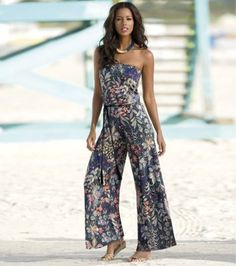 Needle Work Print Jumpsuit from Monroe and Main. Smooth, seamless coverage offers easy drape, removable belt for shaping and the swish of palazzo legs. Just Style, Dress Suits, Dresses, Summer Outfits, Summer Fashions, Summer Clothes, Printed Jumpsuit, Summer Trends, Suits You