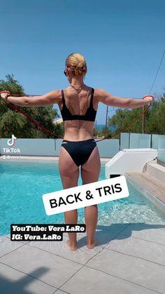 Back Fat Workout, Slim Waist Workout, Fitness Workout For Women, Back Exercises, Shoulder Workout, Gym, Workout Videos, Workouts, Resistance Bands