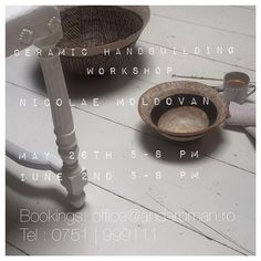 Grab a friend and join us for a few creative hours filled with ceramic hand making new friends good conversation jazz nibbles and some wine all set in our beautiful serene decor. Our guest is ceramic artist Nicolae Moldovan.  In the first session | May 26 th |  5-8 pm | he will guide us through basic ceramic hand building techniques to create our own pieces to take home and enjoy.  On the second session | June 2 nd | | 5-8 pm | of the workshop Nicolae will step us through ceramic painting…