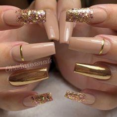 55 Trendy Rose Gold Nails That You Can't Resist Glam Nails, Bling Nails, Cute Nails, Red Nails, Pointy Nails, Yellow Nails, Pastel Nails, Gold Acrylic Nails, Rose Gold Nails