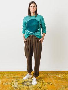 Turquoise Velvet Circle Sweatshirt
