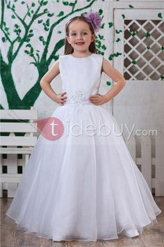 A-Line Round-neck Floor-Length Flower Girls Dress