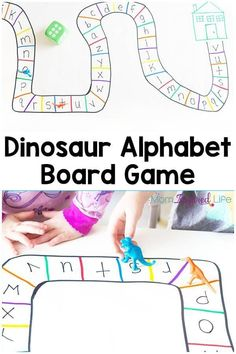 This dinosaur alphabet board game is a fun way to learn letters and a great extension activity for Goldilocks and the Three Bears. Dinosaur Theme Preschool, Dinosaur Alphabet, Preschool Board Games, Alphabet Board, Alphabet Games, Teaching The Alphabet, Preschool Literacy, Learning Letters, Kindergarten Activities