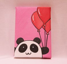 Panda with Balloons Canvas Painting for Nursery by GinaKingArt, $34.99