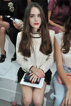 Stacy Martin Front Row at Chanel  [Photo by Stéphane Feugère]