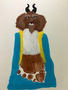Beast- Beauty and the Beast Kids Footprint Craft Disney Theme, Disney Art, Painting For Kids, Art For Kids, Baby Crafts, Crafts For Kids, Beauty And The Beast Crafts, Disney Lessons, Thumbprint Crafts
