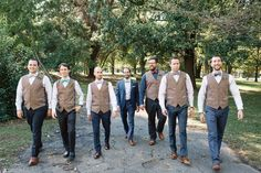 Groomsmen in tweed vests
