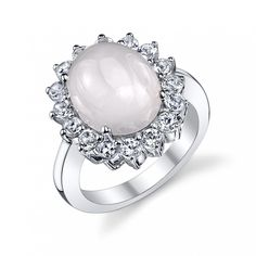 Sterling Silver Pink Chalcedony & White Topaz Ring. All of our Freshwater Pearls are imported directly from the source, the pearl farms in China. This ring is comprised of the highest quality .925 sterling silver. This piece is adorned with stunning Pink Chalcedony and White Topaz. Only the most elegant jewelry boxes are used to package and ship our rings, ensuring the most beautiful presentation possible. Additionally, all products are accompanied with a genuine cultured pearl guarantee...