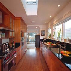 galley kitchen, simmillr to ours... we just need more windows(skylights)