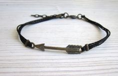 A beautiful and stylish Handmade black waxed cord bracelet for men with antique Bronze Arrow Charm (5 x35mm ), Great for casual everyday use Very