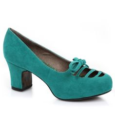 Teal Microsuede Letty Cut Out Pumps ($45) ❤ liked on Polyvore featuring shoes, pumps, mid-heel shoes, ellie shoes, cutout pumps, cut out pumps and teal green shoes