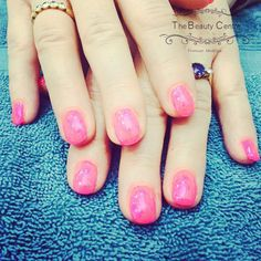 Gel overlays with a #neon #shimmery #pink to finish, perfect for the #summer #sunshine #nailsdid #gelpolish #thebeautycentrebraintree #nails