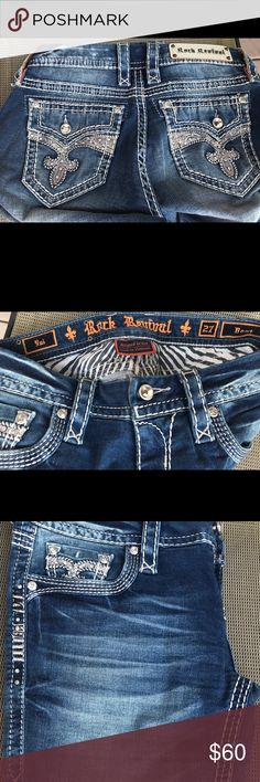 Rock Revival Jeans Bought these from another posher but way too small, I did not realize I need my Rocks to be the curvy fitted these are not ☹️😂😊, so my loss someone's gain! Great shape nothing wrong with them except my booty is too big to squeeze in them comfortably 😂😜 Rock Revival Jeans Boot Cut