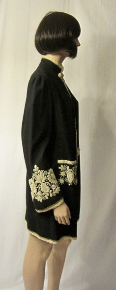 Edwardian Black and White Hand-Embroidered Jacket. Materials: Wool, Embroidery. Sideway