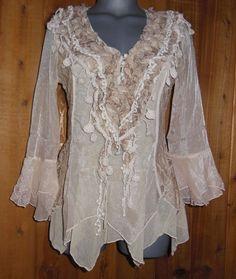 NWT PRETTY ANGEL SHIRT blouse RUFFLES LACE S M L XL XXL vintage gypsy WESTERN in Clothing, Shoes & Accessories   eBay