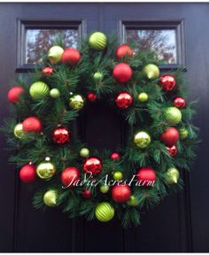Ornament Wreath-Christmas Ornament Wreath-Christmas Wreath-Traditional Wreath-Holiday Wreath-Winter Wreath-Long Needle Pine Wreath-Wreaths