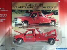 "1:64 Johnny Lightning 1999 Ford F-450 ""Clark's Service"" Tow Truck Farm Trucks, Toy Trucks, Car Trailer, Farm Toys, Old Fords, Hot Wheels Cars, Diecast Models, Automobile, Wrangler Shirts"
