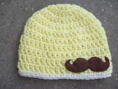 Infant Crochet Hat in Yellow with Felt by AngieHallHaviland, $15.00