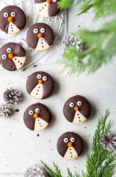 Adorable Penguin Christmas Cookies - The Loopy Whisk Gluten Free Sugar Cookies, Chewy Sugar Cookies, Cookies Et Biscuits, Chocolate Cookies, Gluten Free Christmas Cookies, Macaron Cookies, Macaron Recipe, Christmas Desserts, Christmas Baking