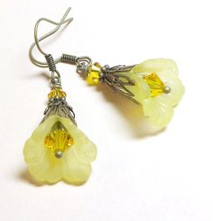 Jewelry, Earrings Yellow Ruffled Lucite Flower, Antique Brasss, Swarovski Austrian Sunflower Crystal. $7.00, via Etsy.